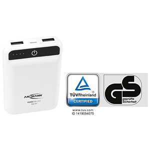 Powerbank, Li-Po, 10000 mAh, mini + Kabel ANSMANN 1700-0090