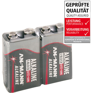 Red, Alkaline Batterie, 9-V-Block, 2er-Pack ANSMANN 5015591