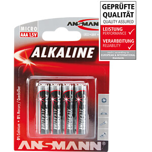 Red, Alkaline Batterie, AAA (Micro), 4er-Pack ANSMANN 5015553