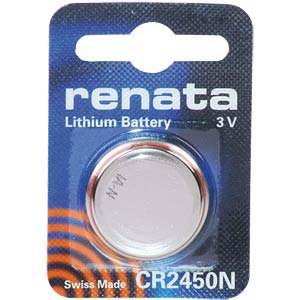 Renata button cell battery, 3 Volt, 550 mAh, 24.5x5.0 mm RENATA 700376