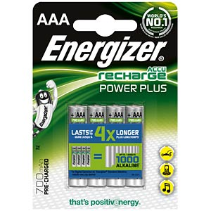 Energizer PowerPlus 4x AAA rechargeable batteries, 700 mAh ENERGIZER E300626600