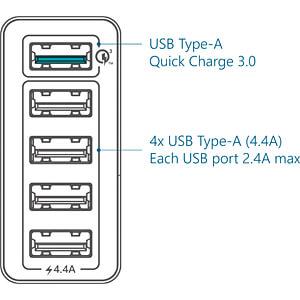 USB-oplader, 5 V, 2400 / 3000 mA, 5 USB-poorten FANTEC 1954