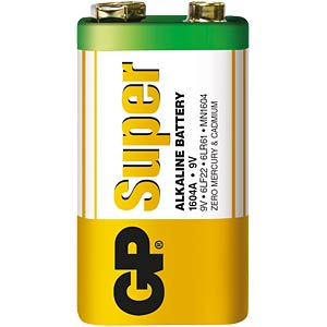 GP-Alkaline Batterie, 9 Volt Block GP-BATTERIES 1604A       INKL.