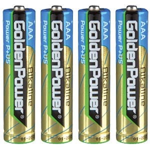 Pack of 4 Golden Power AAA batteries GOLDEN POWER GLR03ASP4
