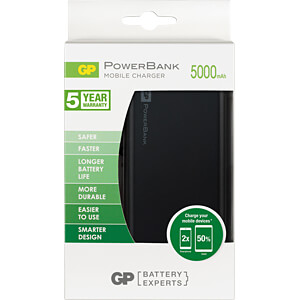 Powerbank, Li-Po, 5000 mAh, USB GP-BATTERIES 130FP05MBLACK