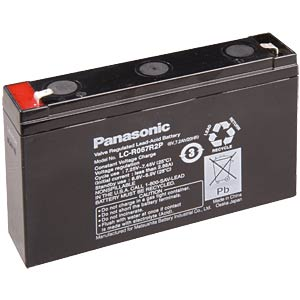 Lead battery, 6 volt, 7.2 Ah, 94 x 151 x 34 mm PANASONIC LCR-6V 7,2P