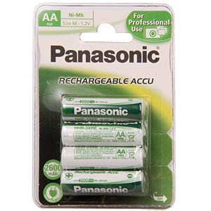 PANASONIC Mignon Akkus, NiMh, 2450mAh, 4er PANASONIC HHR-3XXE/4BC
