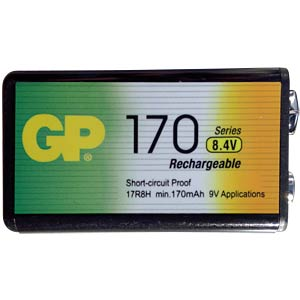 GP NiMH-Industriezelle, 9V Block (8,4V), 170mAh GP-BATTERIES GP17R8H