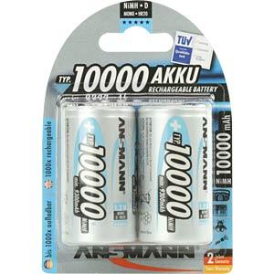 NiMh Akku, D (Mono), 10000 mAh, 2er-Pack ANSMANN