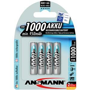 NiMh Akku, AAA (Micro), 1000 mAh, 4er-Pack ANSMANN 5030882