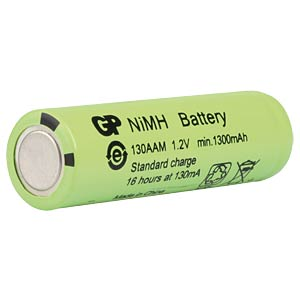 NiMh industrial cell from GP, 1.2 V, AA, 1300 mAh, 14.4 x 48.2 GP-BATTERIES 301.130AAM-C1
