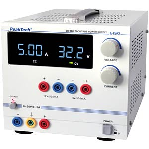 Stabilised laboratory power supply unit, 0 - 30 V/0 - 5 A DC PEAKTECH 6150