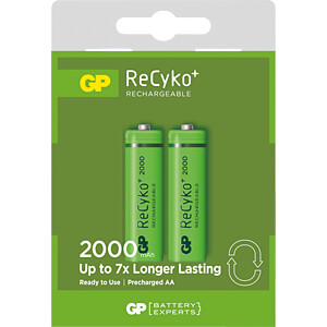 GP ReCyko+ accu AA (Mignon), 2000 mAh, pak van 2 GP-BATTERIES 120200AAHCC2