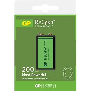 ReCyko+, NiMh Akku, 9-V-Block, 200 mAh, 1er-Pack GP-BATTERIES 12020R8HC1