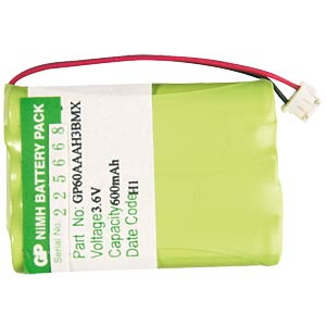 Cordless phone battery, NiMh, 3.6 V, 600 mAh FREI