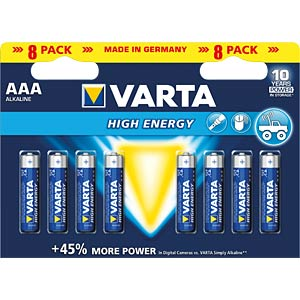 High Energy, Alkaline Batterie, AAA (Micro), 8er-Pack VARTA 4903121418