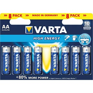 High Energy, Alkaline Batterie, AA (Mignon), 8er-Pack VARTA 4906121418