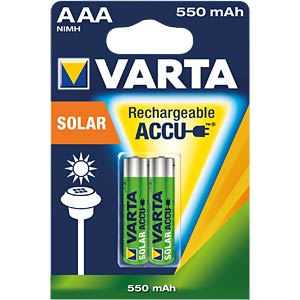 Solar, NiMh Akku, AAA (Micro), 550 mAh, 2er-Pack VARTA 56733101402