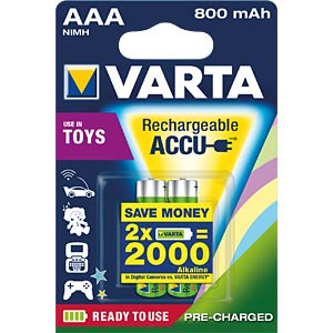 Toy Akku, NiMh Akku, AAA (Micro), 800 mAh, 2er-Pack VARTA 56783101402