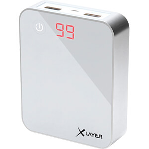Powerbank, Li-Ion, 10000 mAh, USB, weiß XLAYER