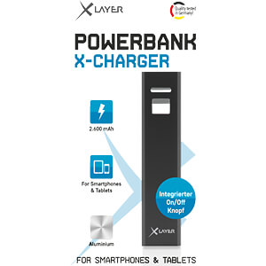 Powerbank, Li-Ion, 2600 mAh, USB, zwart XLAYER