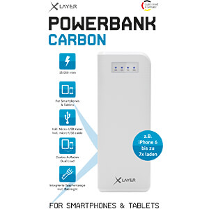 Powerbank, Li-Ion, 15000 mAh, USB, weiß XLAYER