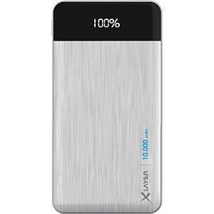 Powerbank, Li-Po, 10000 mAh, USB, silber XLAYER 214411