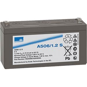 Lead-acid rechargeable battery, 6 volt, 1.2 Ah, 97.3x25.5x51.0 m SONNENSCHEIN A506/1,2 S