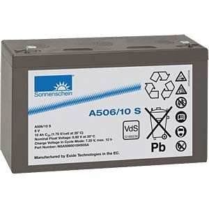 Lead-acid rechargeable battery, 6 volt, 10 Ah, 151.0x50.5x94.5 m SONNENSCHEIN A506/10 S