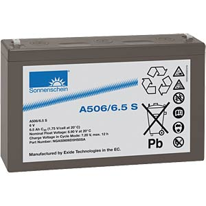Lead-acid rechargeable battery, 6 volt, 6.5 Ah, 151.0x34.5x94.5  SONNENSCHEIN A506/6,5 S