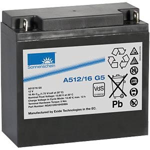 Lead-acid rechargeable battery, 12 volt, 16 Ah, 181.0x76.0x167.0 SONNENSCHEIN A512/16 G5