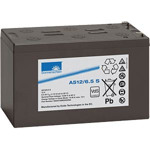 Lead-acid rechargeable battery, 12 volt, 6.5 Ah, 151.0x65.5x94.5 SONNENSCHEIN A512/6,5 S