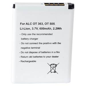 600 mAh, Li-Ion for ALCATEL GYARI FREI