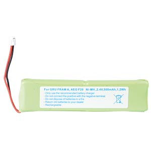 Cordless phone battery, NiMH, 2,4 V, 500 mAh FREI