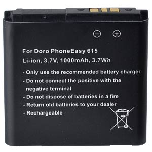 1000 mAh, Li-Ion for DORO PhoneEasy 614 FREI