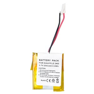 250 mAh, Li-Pol für APPLE iPod Shuffle 2G FREI
