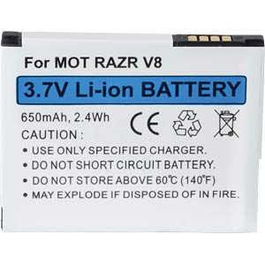 650 mAh, Li-Ion for MOTOROLA RAZR V8 FREI