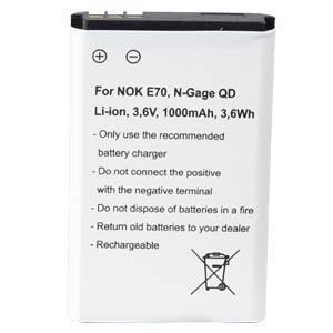 1000 mAh, Li-Ion for NOKIA E70 FREI