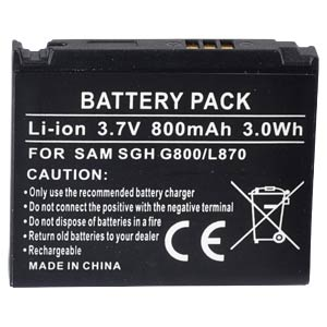 Ersatzakku für Samsung, SGH-G800 / SGH-L870, Li-Ion, 800 mAh FREI