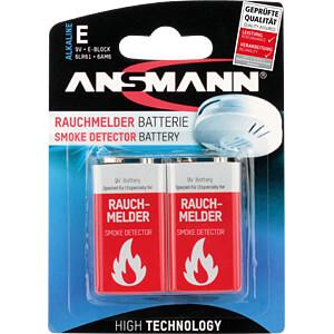 Alkaline Batterie für Rauchmelder, 9-V-Block, 2er-Pack ANSMANN 1515-0006