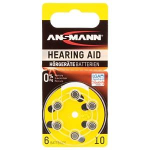 Hörgerätebatterie, Zink-Luft, 5,80x3,60 mm, Aid 10, 6er-Pack ANSMANN 5013223