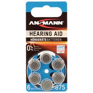 Hörgerätebatterie, Zink-Luft, 11,60x5,40 mm, Aid 675, 6er-Pack ANSMANN 5013253