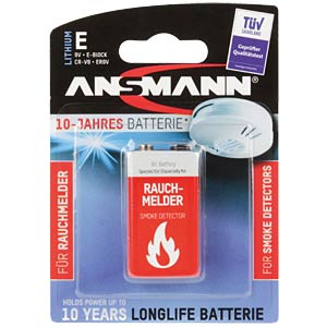 Lithium Batterie, 9-V-Block, 1100 mAh, 1er-Pack ANSMANN 5021023-01