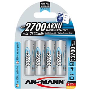 NiMH batteries, 4-pack, AA, 2700 mAh ANSMANN 5030842