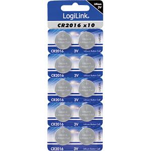 Lithium Knopfzelle, 3V, 20,0x1,6 mm, 10er Pack LOGILINK CR2016B10