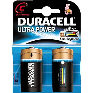 Duracell Ultra Power, 2x Baby mit Power Check DURACELL MX1400 C (LR14)