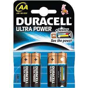 Duracell Ultra Power, 4xMignon mit Power Check DURACELL MX1500 AA (LR03)