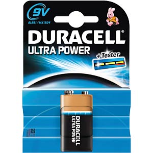 Duracell Ultra Power, 9-Volt Block, inkl. Tester DURACELL MX1604