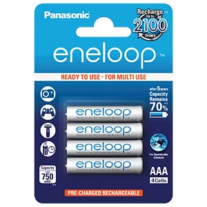 Panasonic eneloop Akkus, 4xMicro, 750 mAh, HR-4UTGB PANASONIC HR-4UTGB