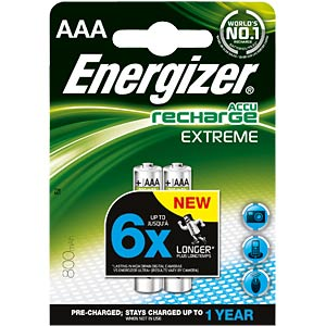 Energizer Extreme 2x AAA rechargeable batteries, 800 mAh ENERGIZER E300624300